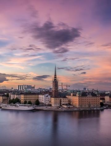 Helikoptervy över Riddarholmen i Stockholm